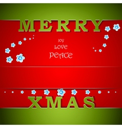 Merry Xmas green and red card with wishes vector image vector image