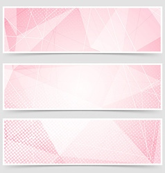 Red crystal structure abstract header set vector image vector image