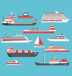 ships set oil tanker yacht bulk carrier gas vector image vector image