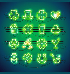 st patrick neon icons vector image vector image