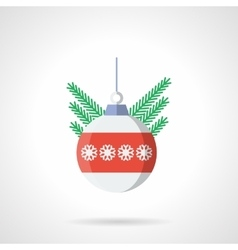 Xmas sphere bauble flat color icon vector image vector image