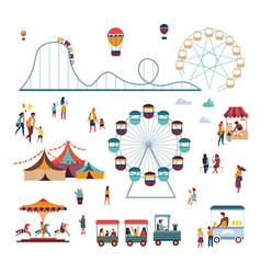 Amusement park attractions and big top circus ice vector