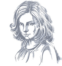 art drawing portrait of gorgeous romantic girl vector image