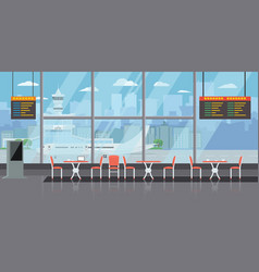 background of hall at airport with empty coffee vector image