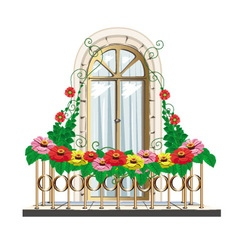 Balcony with flowers vector