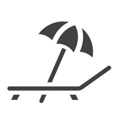 beach umbrella with deckchair solid icon travel vector image