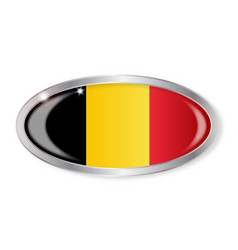 Belgian flag oval button vector