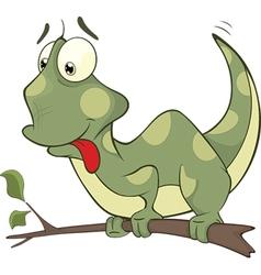 Big green Chameleon cartoon vector