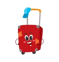 Big red suitcase character with many labels vector