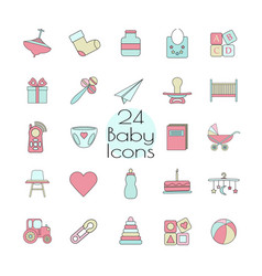 Big web icon set baby toy feed and care vector