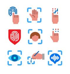 Biometric identification icons vector