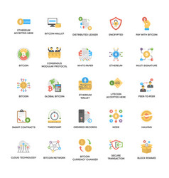 Bitcoin and cryptocurrency icons set vector