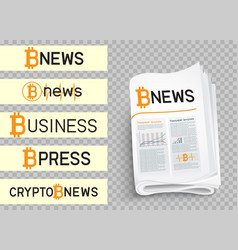bitcoin news logo set vector image