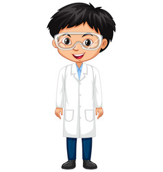 Boy in science gown on white background vector