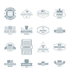 Building materials logo icons set simple style vector