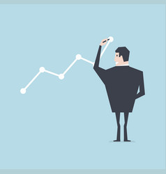 businessman draws graph of growth vector image