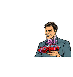 businessman gives a gift selling cars isolate on vector image