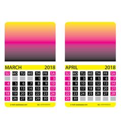 Calendar grid march april vector