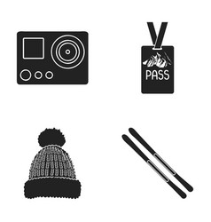 Camera action a lifeguard token a warm hat ski vector