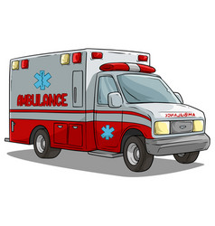 cartoon ambulance emergency car or truck vector image