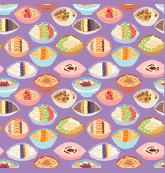 cartoon seamless pattern healthy oatmeal porridge vector image