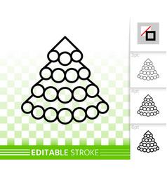 christmas tree simple black line icon vector image