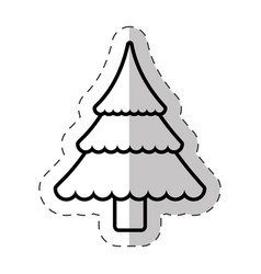 Christmas tree traditional cut line vector