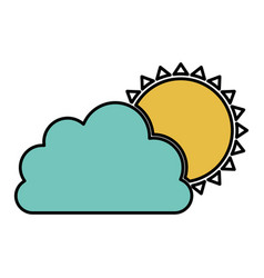 Color cloud with sun icon vector