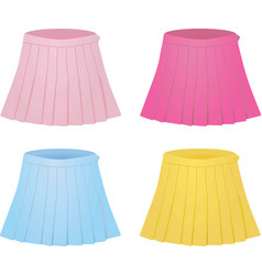 Colorful set of pleated skirts vector