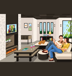 Couple eating take out chinese food at home vector