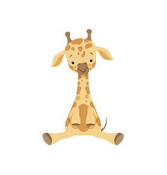 cute little giraffe sitting on the floor funny vector image