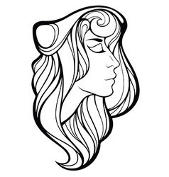 Decorative portrait of shaman girl with long hair vector