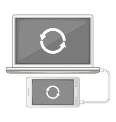 Devices synchronization icon cartoon style vector