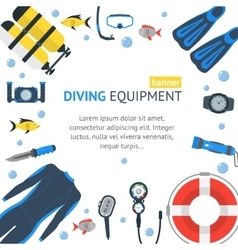 Diving Banner Flat Design Style vector image