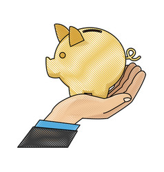 drawing hand man business with piggy bank vector image