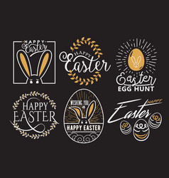 Easter wishes logo labels vector