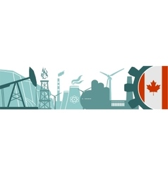 Energy and Power icons set Canada flag vector