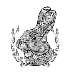 Entangle stylized head rabbit in wreath hand vector