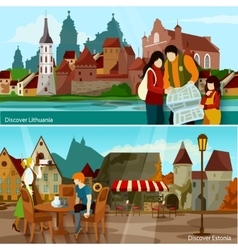 European Cityscapes Compositions Set vector image