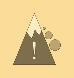 Flat icon on background mountain stones fall vector
