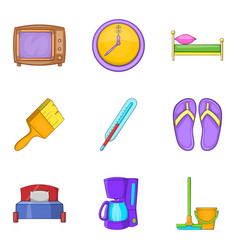 Foster home icons set cartoon style vector