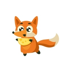 Fox Holding Piece Of Cheese vector