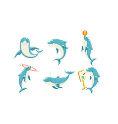 funny dolphins set cute ocean mammals performing vector image