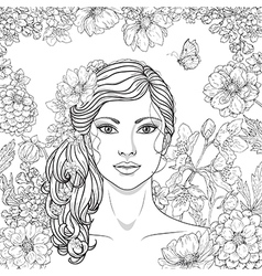 Girl flowers outline vector