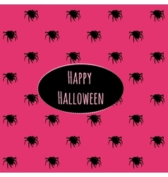 Happy Halloween on a pink background with spiders vector image