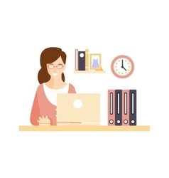 Happy Smiling Woman Office Worker In Office vector image