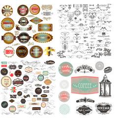 Huge mega set vintage badgesflourishes labels vector