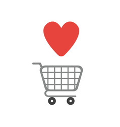 Icon concept of shopping cart with heart vector