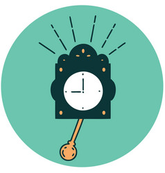 Icon tattoo style ticking clock vector