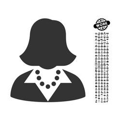 Lady icon with people bonus vector
